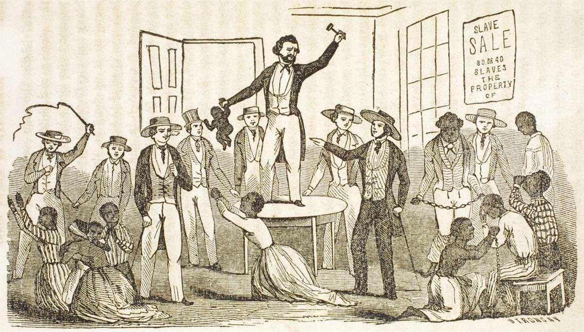 Процесс продажи чернокожих рабов на аукционе в штате Калифорния (1840-е годы)