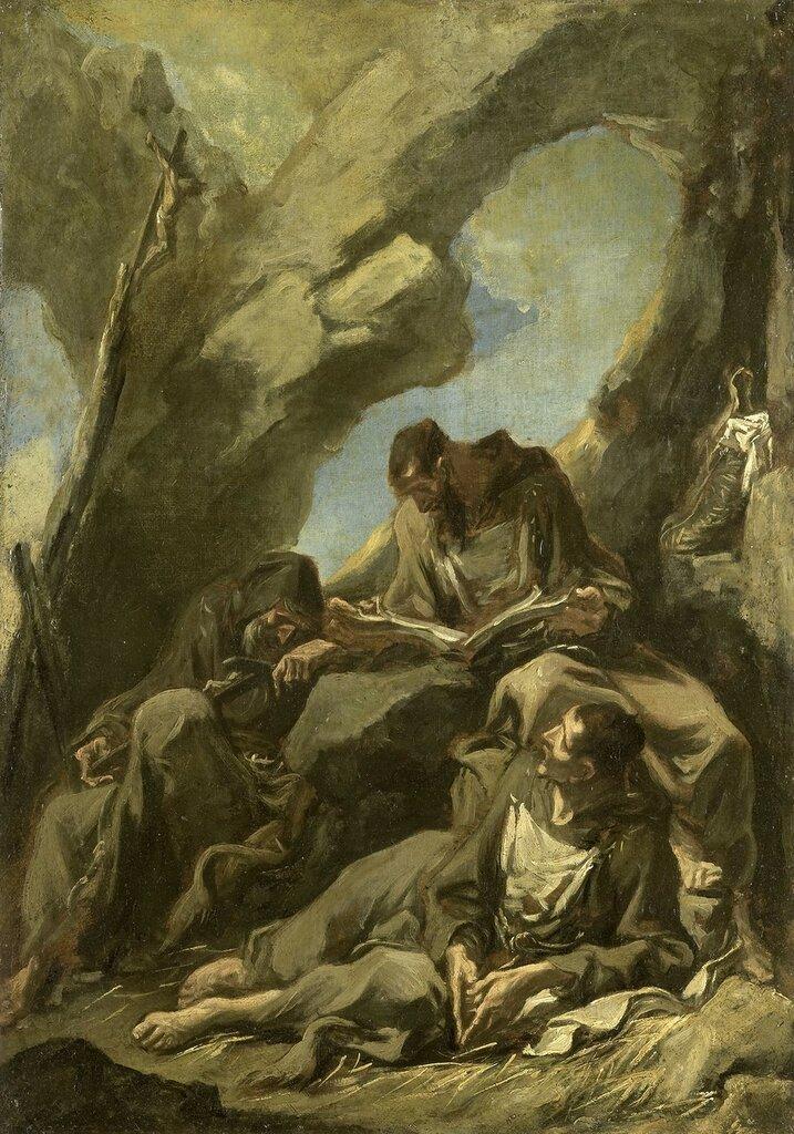 Three Camaldolese Monks in Meditative Prayer 1710-1740.jpg