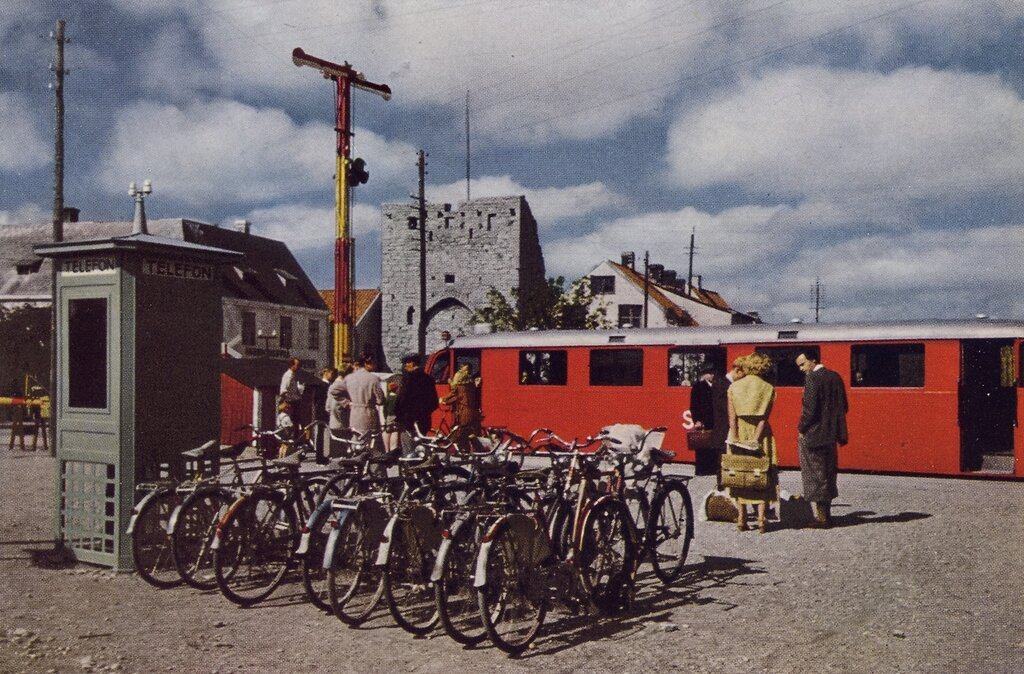 1950 Trolley Car and Cycles Serve Visby Once the Baltic Richest City.jpg