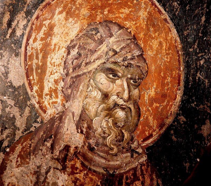 Святой Преподобный Иоанн Дамаскин. Фреска придела Св. Евфимия церкви Св. Димитрия в Салониках. Начало XIV века.
