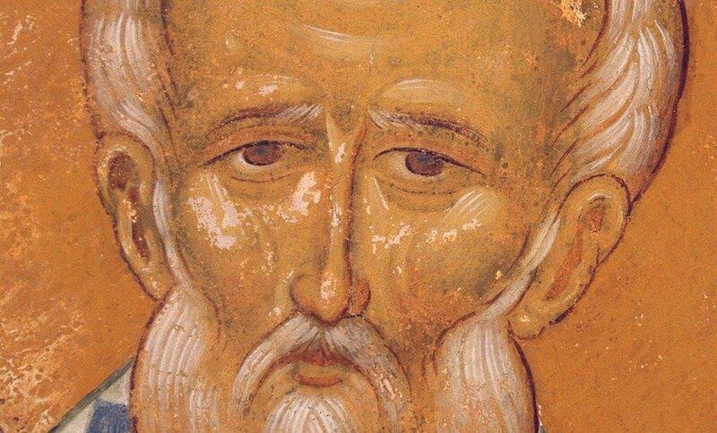 Святитель Николай, Архиепископ Мир Ликийских, Чудотворец. Фреска Дионисия в соборе Рождества Пресвятой Богородицы в Ферапонтовом монастыре. 1502 год. Фрагмент.