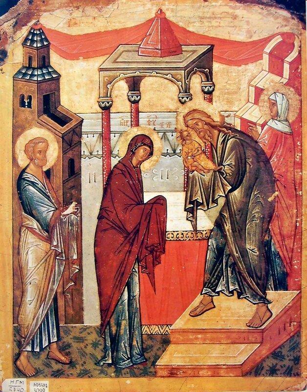 Сретение Господне. Икона. Новгород, конец XV века.