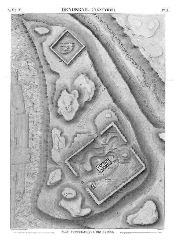 Святилище Хатхор в Дендре, Египет, генеральный план местности из Наполеоновского атласа