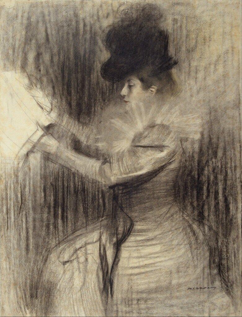 Casas i Carbo, Ramon - Женская фигура, ок. 1900, 62 cm x 47,5 cm, Бумага, уголь и пастель.jpg