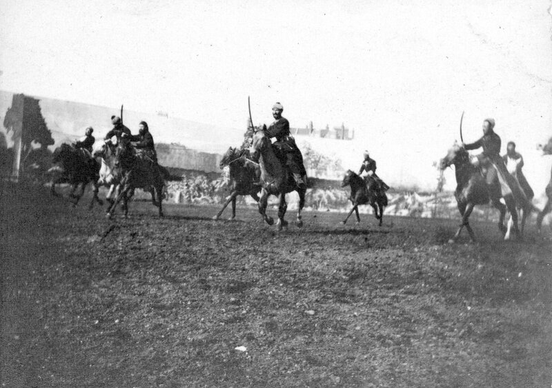 Cossacks charging, during a performance of Buffalo Bill's Wild West Show at Earl's Court in England,1892