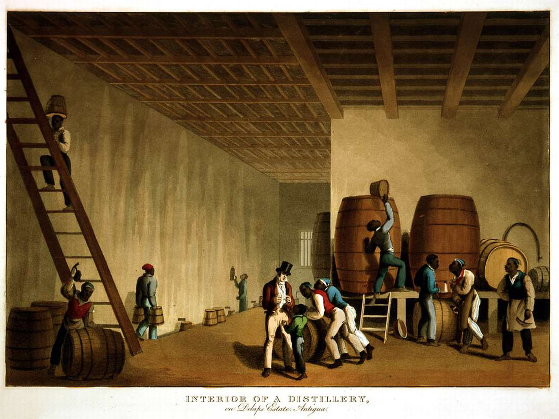 Рабы в помещении завода по изготовлению рома (Антигуа, 1823 год)