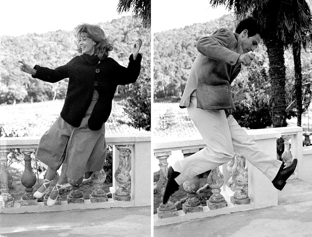1962. Жанна Моро и Анри Серр на съемках фильма «Жюль и Джим»