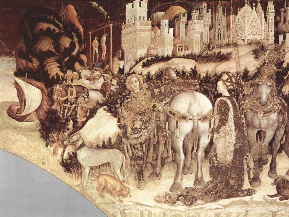 1433 Святой Георгий и принцесса. Антонио Пизанелло (Antonio Pisanello). Фреска1433-1438-gg-freska2.jpg