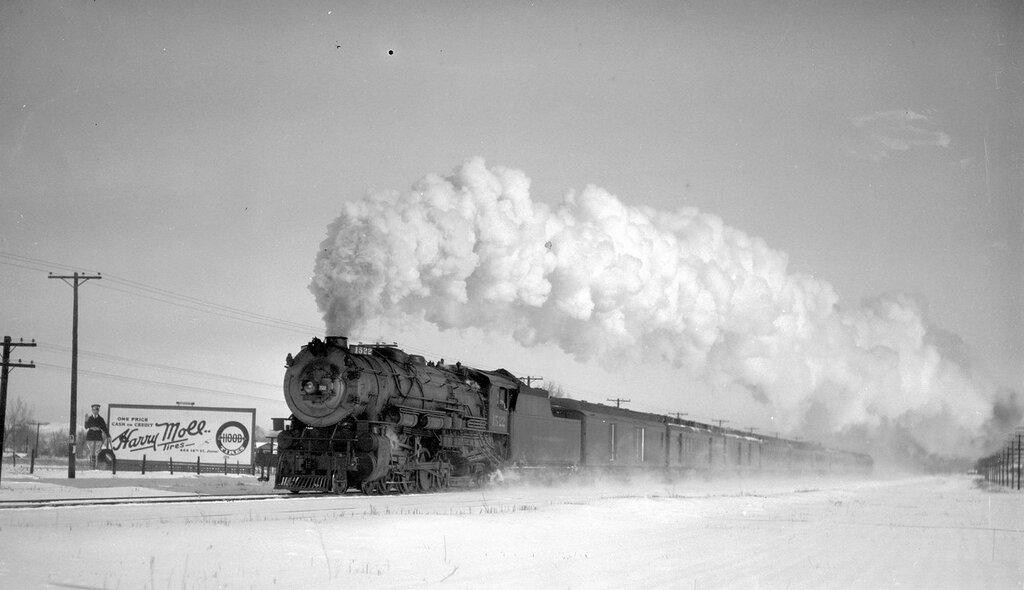 Denver & Rio Grande Western train, engine number 1522, leaving Denver, Colo., March 20, 1927