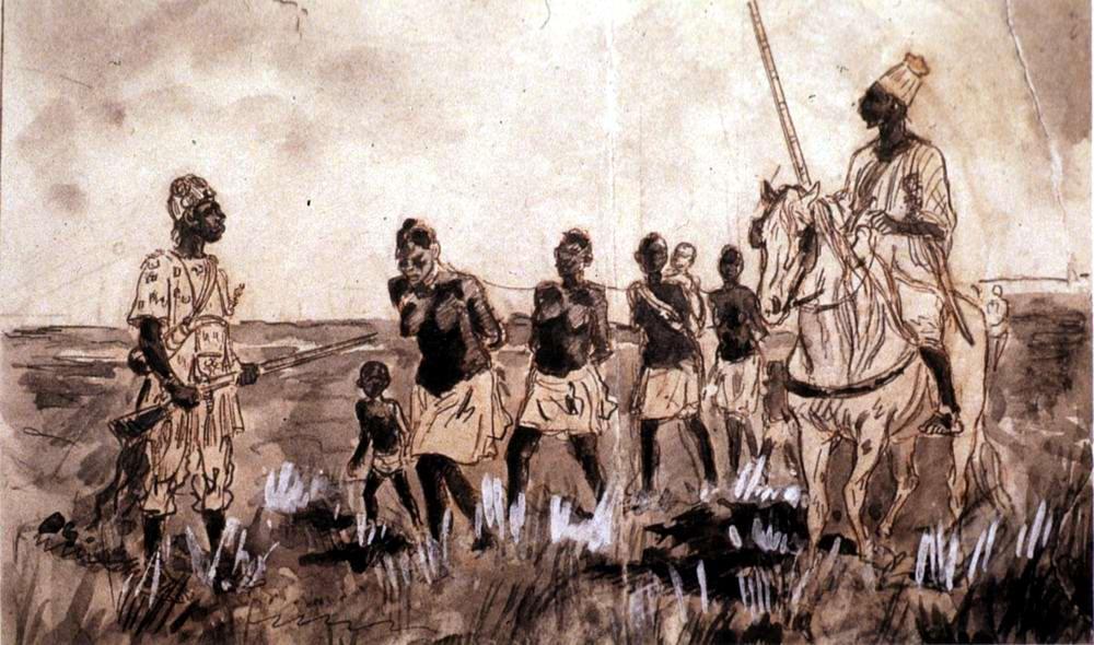 Колонна пленных африканских рабынь (Западный Судан, 1880-е годы)