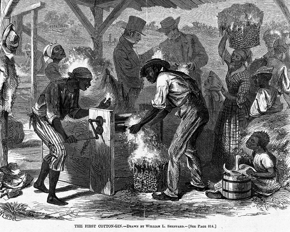Рабы занимаются переработкой хлопка (Юг США, 1860-е годы)