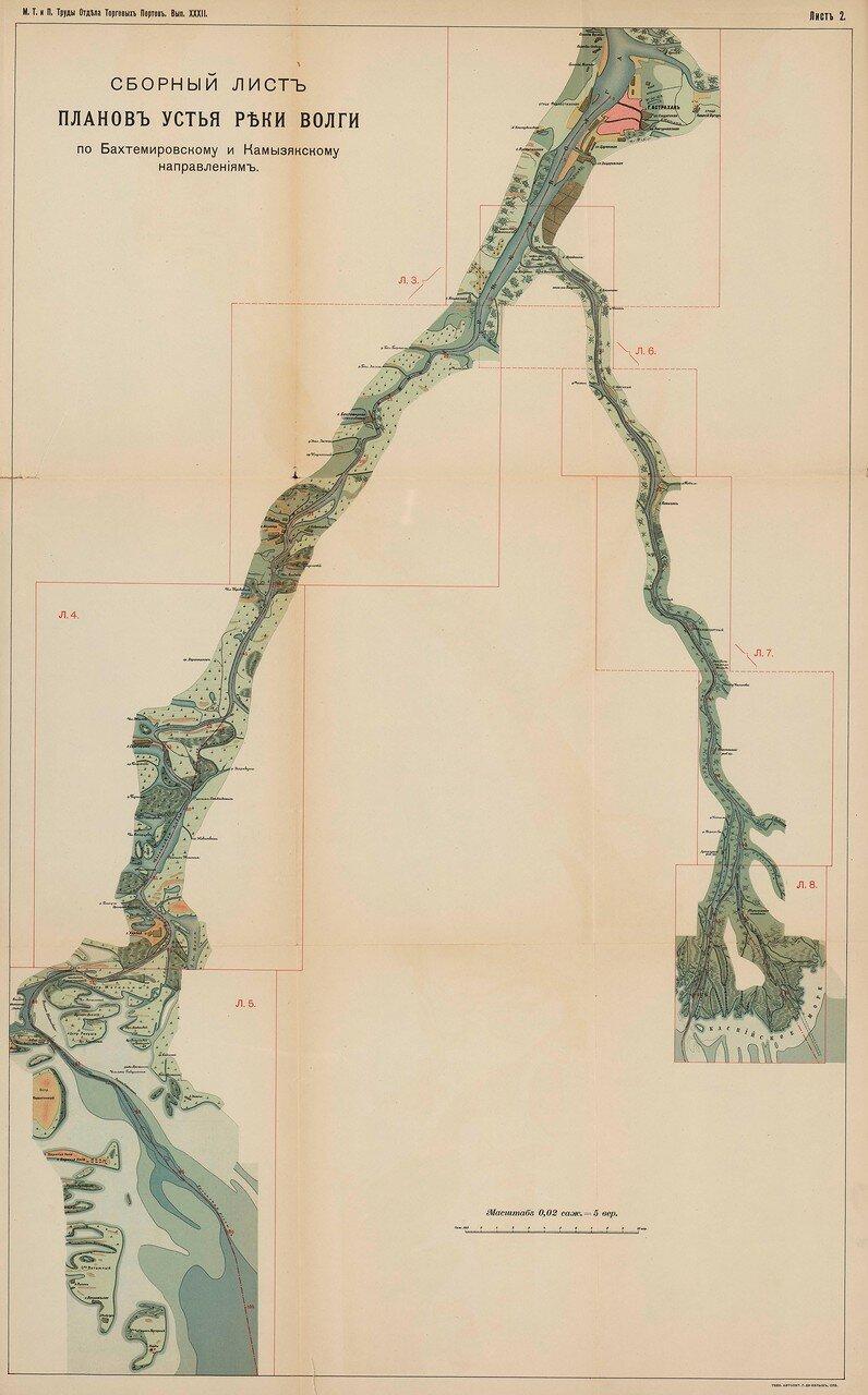 04. Сборный лист планов устья реки Волги