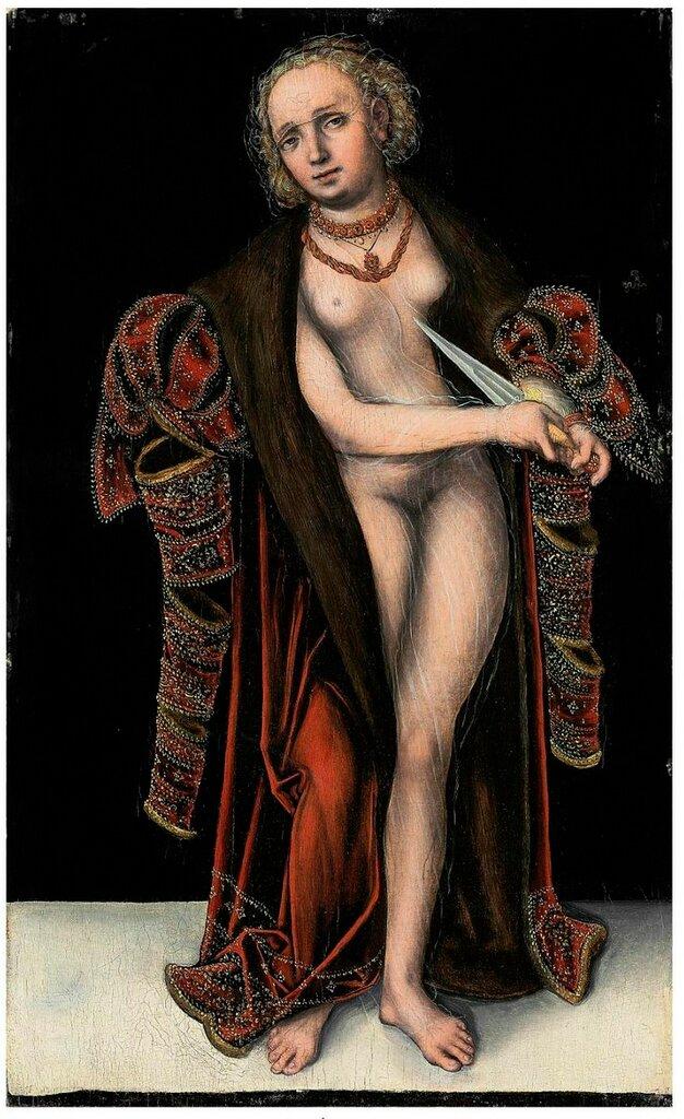 [[[Lucas Cranach II (Wittenberg 1515-1586 Weimar) . Lucretia. Oil on panel. 57.2 x 34.7 cm.JPG