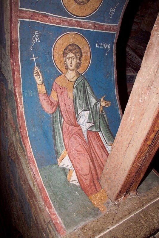 Святой мученик Ермил Сингидонский (Белградский). Фреска монастыря Высокие Дечаны, Косово, Сербия. Около 1350 года.