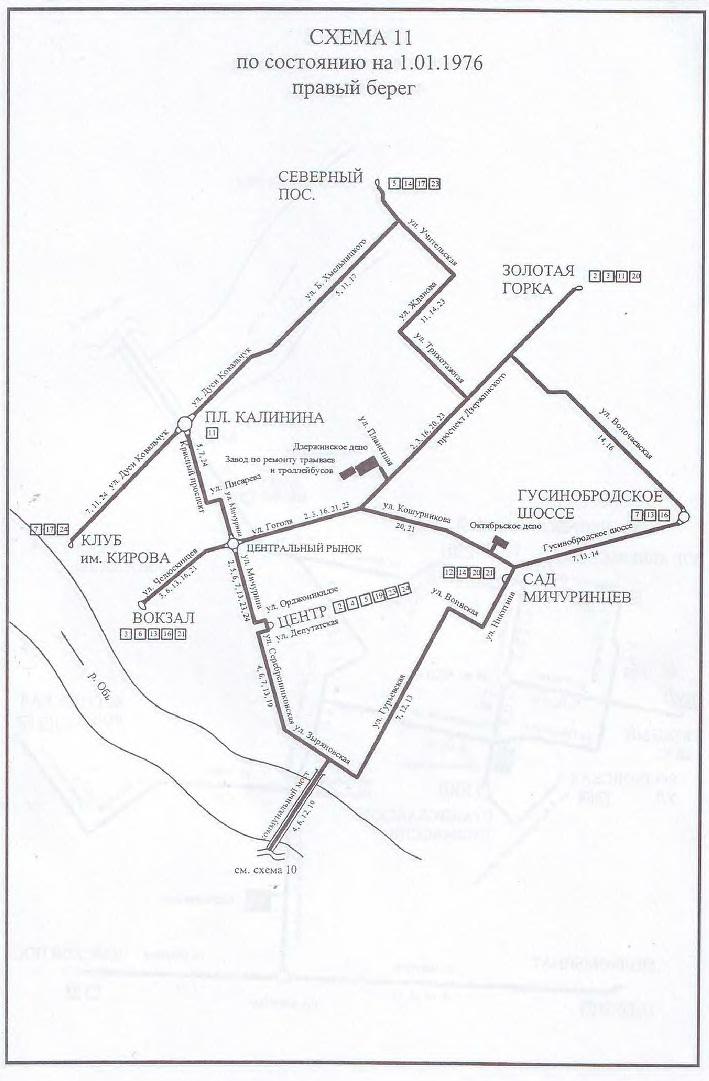 Схема Новосибирского трамвая