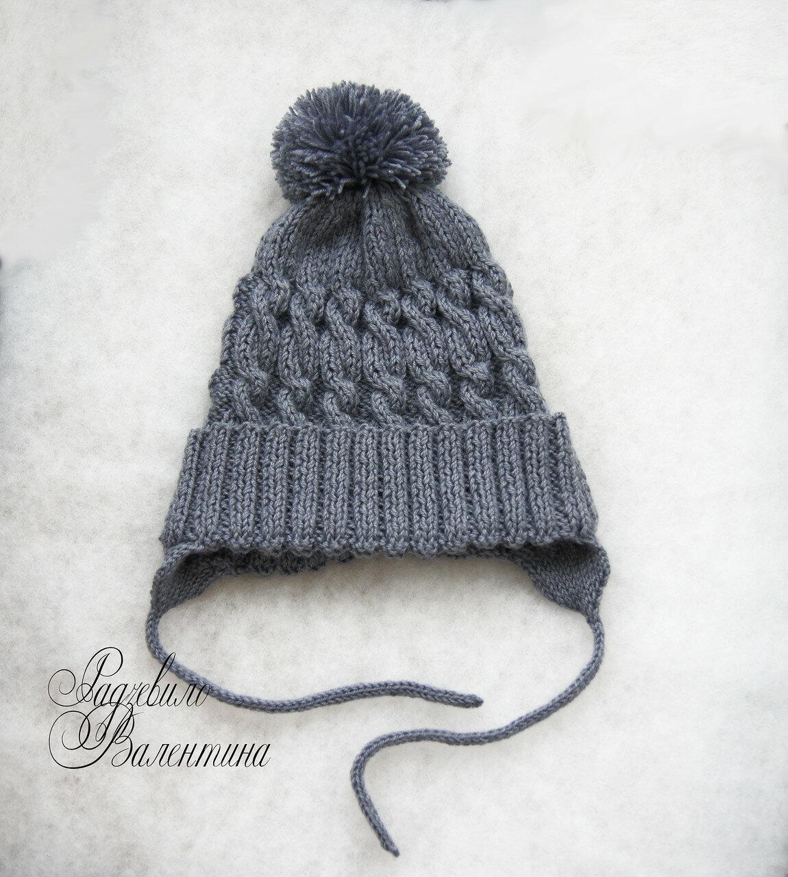 спицы шапки косами схема