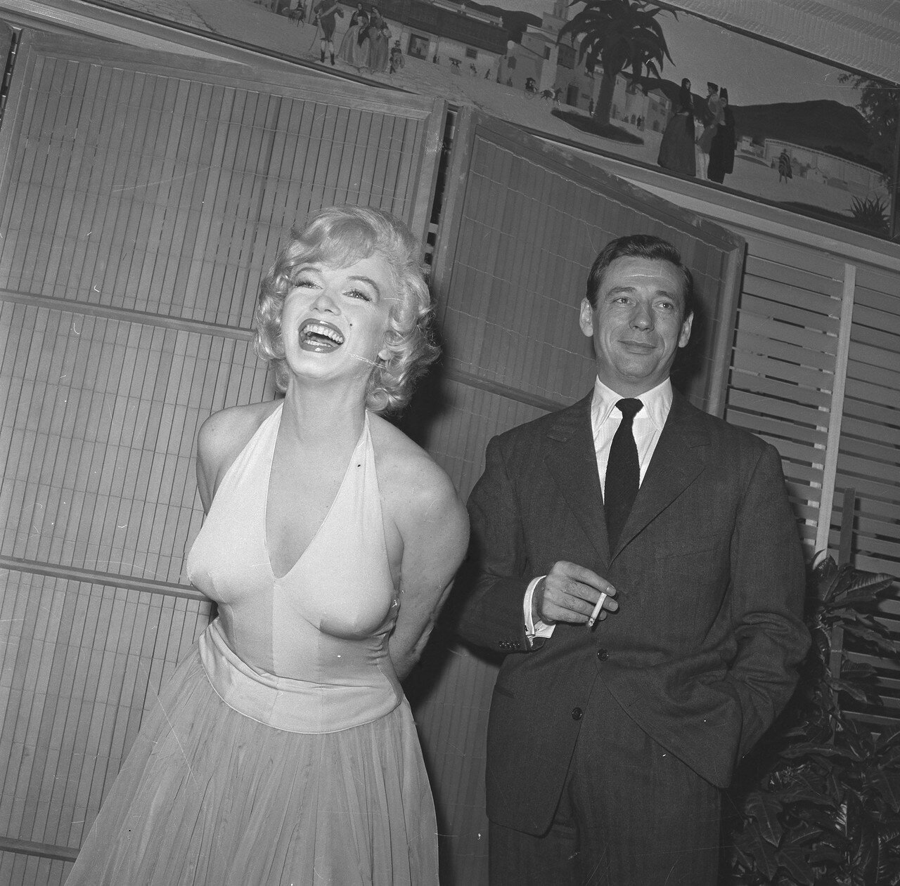 Marilyn at Cocktail Party with Yves Montand