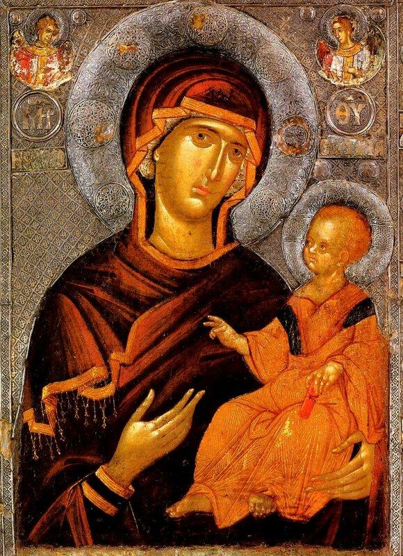"""Икона Божией Матери """"Душеспасительница"""". Константинополь, около 1312 - 1325 годов. Галерея икон в Охриде, Македония."""