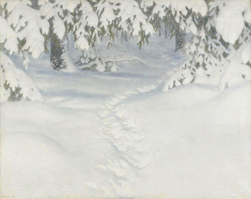 Gustaf Fjaestad. Зимний пейзаж. 1915.jpg