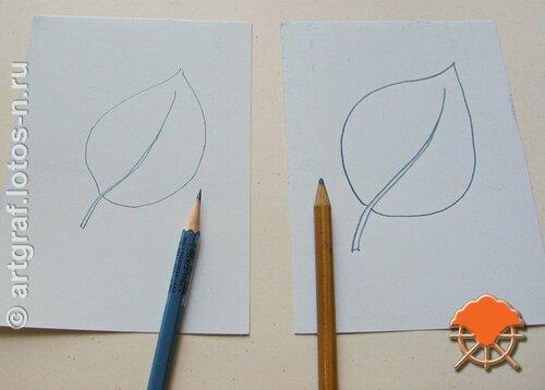 Контур от рисования острым и тупым карандашами