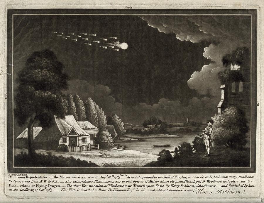 V0024753 Astronomy: a meteor shower in the night sky. Mezzotint.