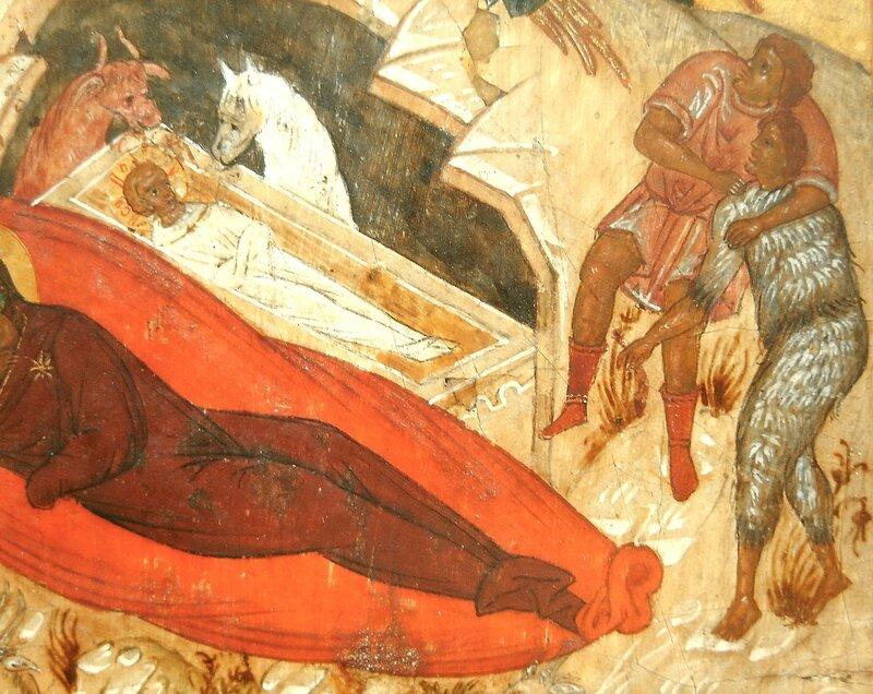 Рождество Христово. Икона. Новгород, XVI век. Фрагмент. Пастухи.