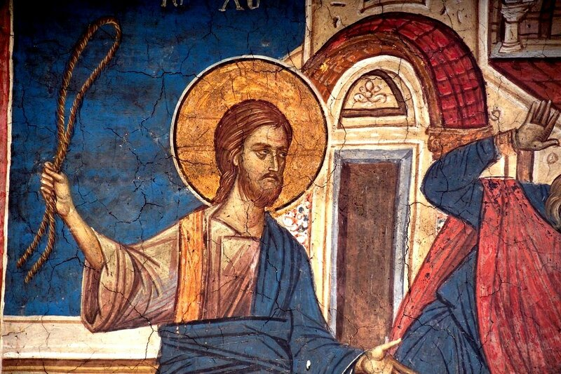 Изгнание торгующих из храма. Фреска монастыря Высокие Дечаны, Косово, Сербия. Около 1350 года. Фрагмент.