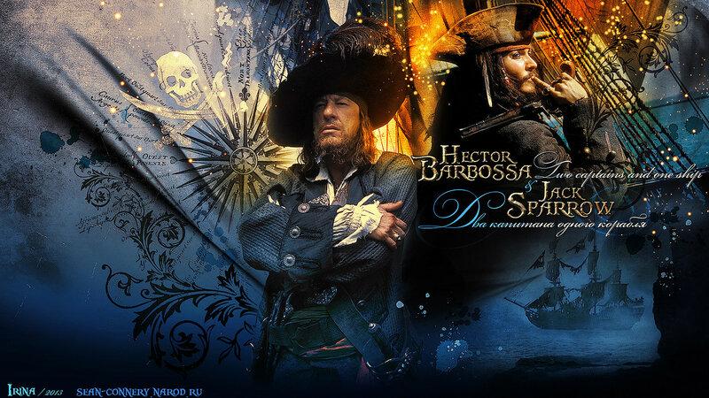 Обои: «Пираты Карибского моря» / Jack Sparrow & Hector Barbossa. Two captains.