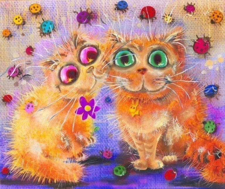 Рисунки позитивных котов