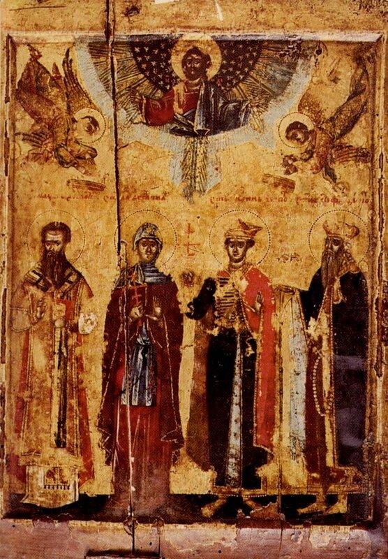 Святые Максим, Ангелина, Иоанн и Стефан Бранковичи. Сербская икона XVI века из монастыря Крка в Далмации.