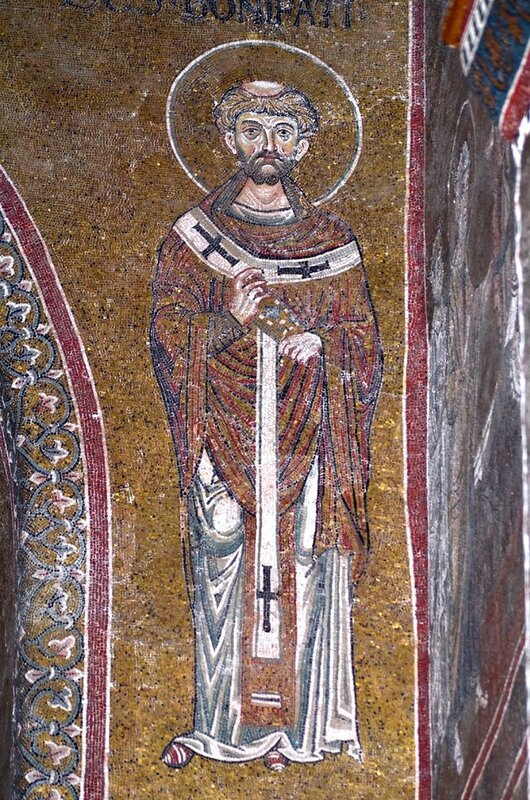 Святитель Вонифатий Милостивый, Епископ Ферентийский (?). Мозаика собора в Монреале, Сицилия. XII век.