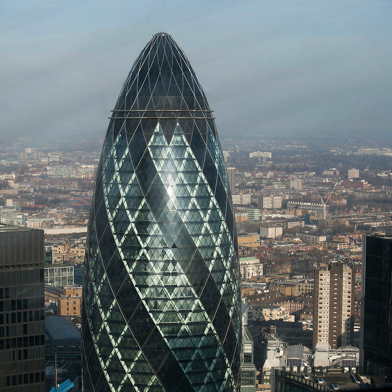 LONDON, UNITED KINGDOM - January 2, 2015: Aerial view of London from the Walkie Talkie building on 20 Fenchurch Street .