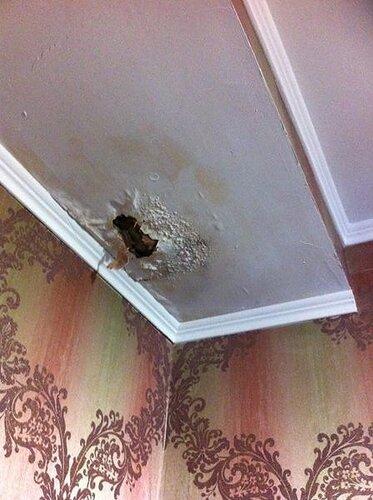 На потолке появилась и растёт со временем зияющая рана