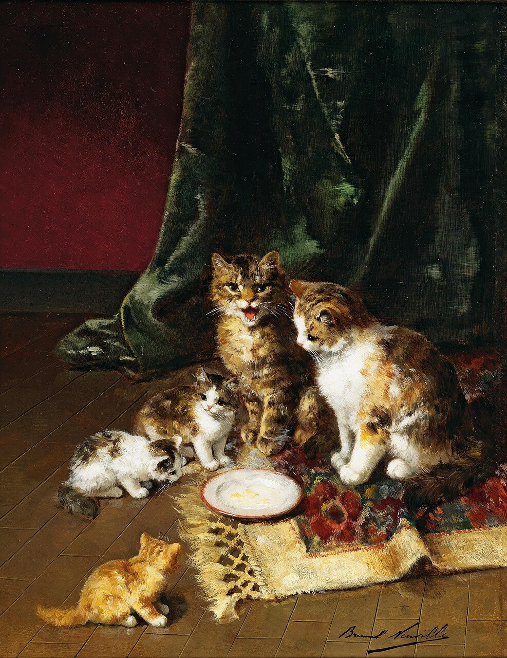 Arthur Alfred Brunel de Neuville(Paris 1851–1941) Cat Family
