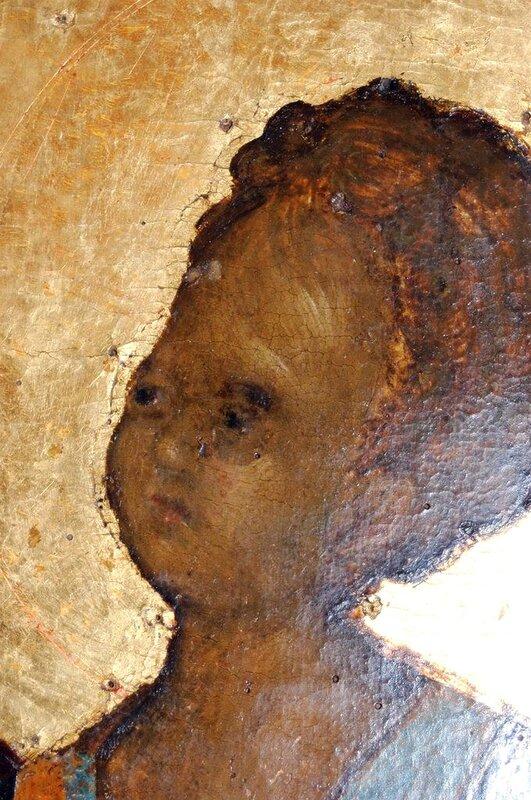 """Лик Младенца Христа. Фрагмент иконы """"Богоматерь Одигитрия"""". Византия, XIV век. Монастырь Хиландар на Афоне."""
