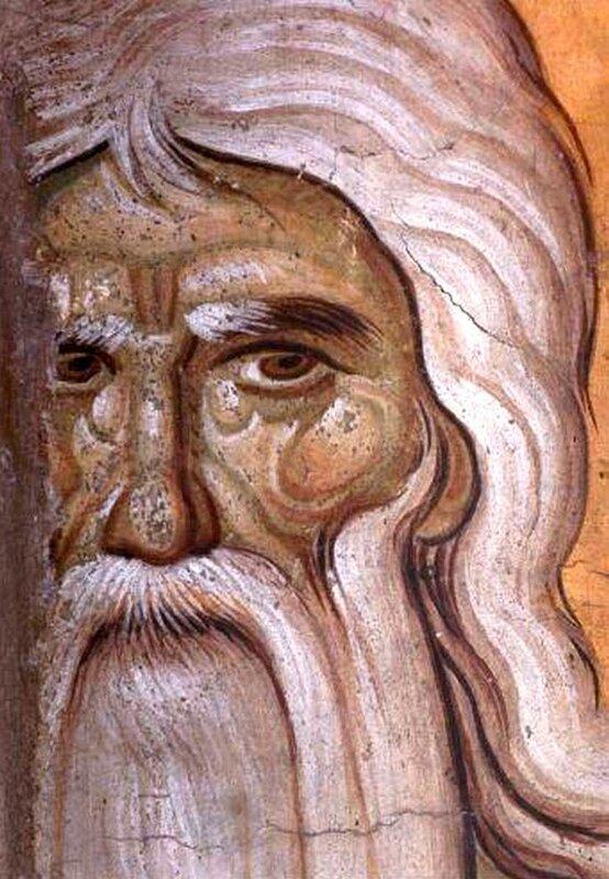 Святой Преподобный Онуфрий Великий. Фреска конца XIII века в монастыре Протат на Афоне. Иконописец Мануил Панселин. Фрагмент.