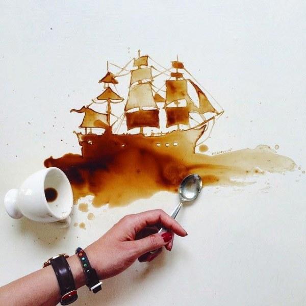 Превращение пролитого кофе в картины (24 работы) (24 фото)