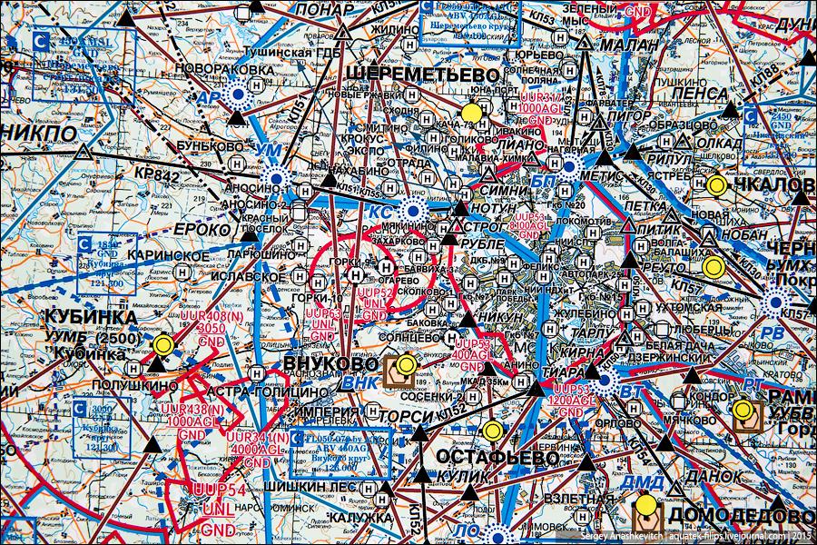 Авиационная карта Москвы
