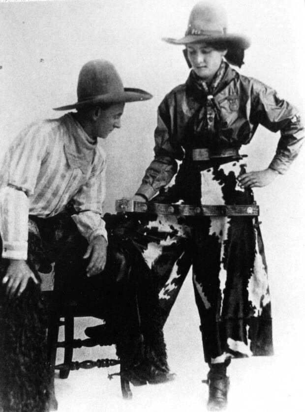 Rodeo legend from Montana, Fannie Sperry Steele with her husband, Bill.jpg