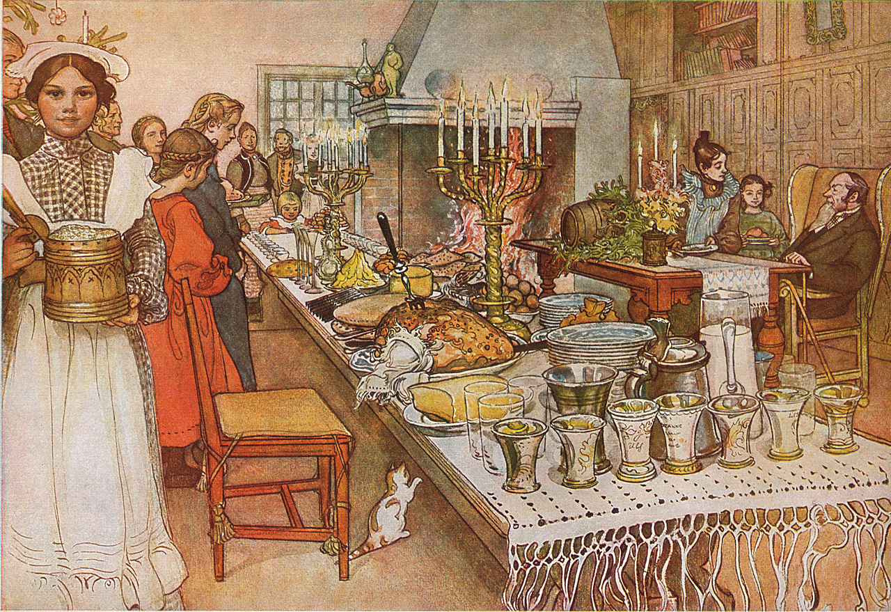 Сочельник__Christmas Eve__ a watercolor, done 1904-05 by Carl Larsson (1853-1919)