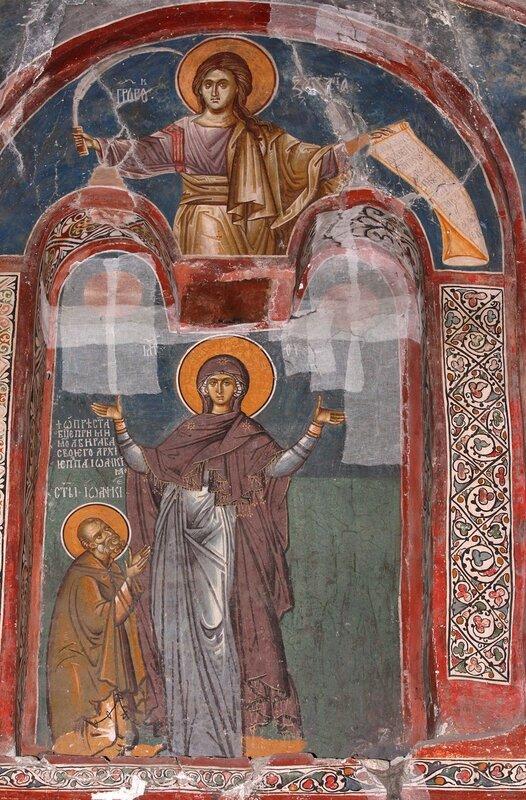 Святой Преподобный Иоанникий Великий, молитвенно предстоящий Божией Матери. Фреска в комплексе Печской Патриархии, Косово, Сербия. 1338 - 1346 годы.