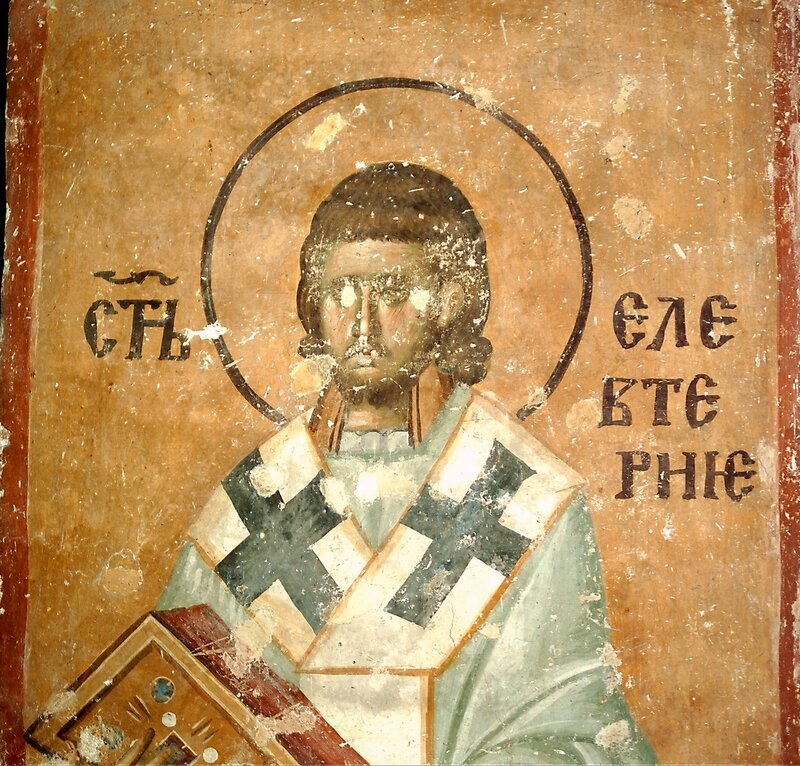 Священномученик Елевферий, Епископ Иллирийский. Фреска XIII века в монастыре Сопочаны, Сербия.