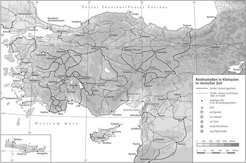 Карта системы римских дорог на территории Турции (Малой Азии)