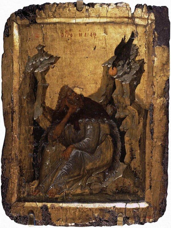 Илия Пророк в Пустыне. Византийская икона. XIV век