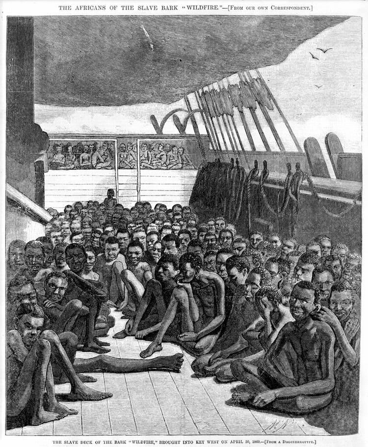 Рабы на палубе судна Wildfire, задержанного в апреле 1860 года на подходе к побережью Кубы