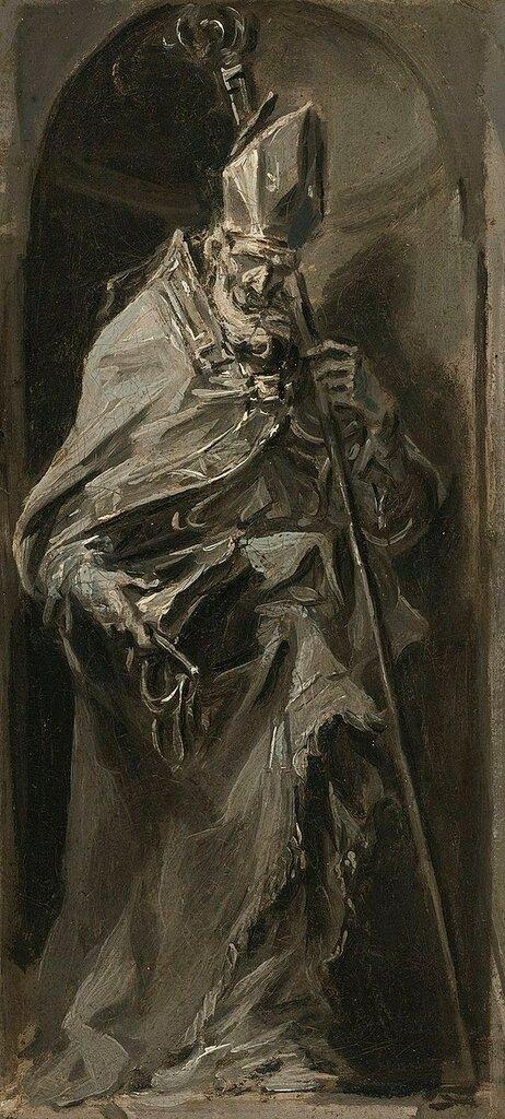 Alessandro_Magnasco_(1667-1749)_A_Bishop_Saint_standing_in_a_niche.jpg
