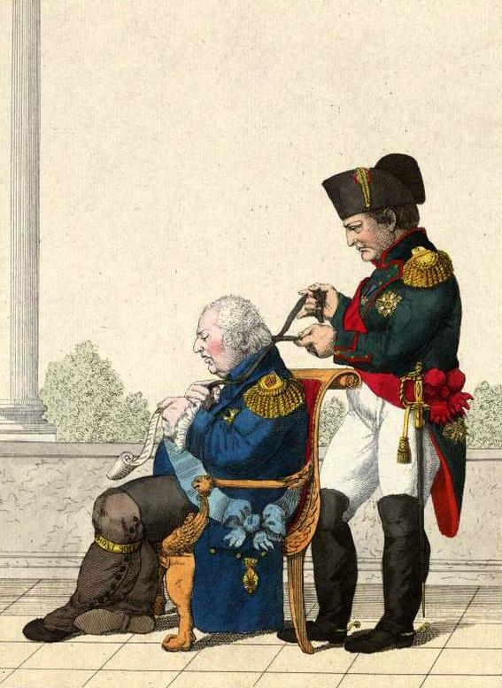 Бонапарт затягивает веревку на шее Людовика XVIII.jpg