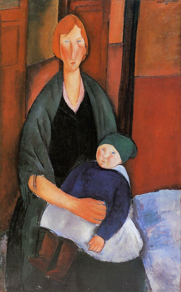 Seated Woman with Child (also known as Motherhood) - 1919 - Musee d'Art Moderne - Villenueve d'Ascq - Painting - oil on canvas.jpeg