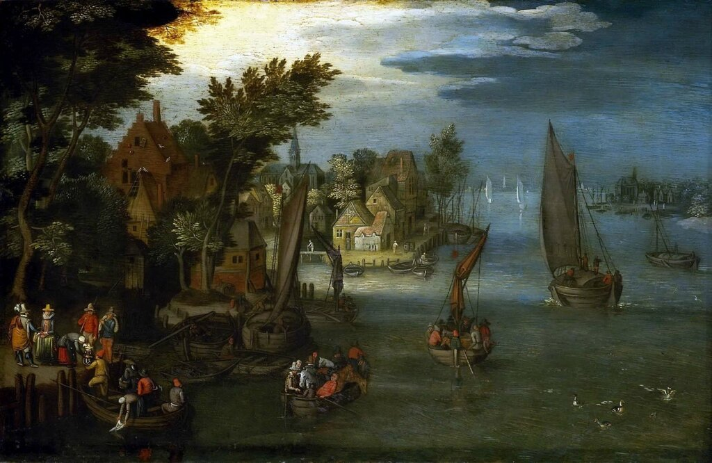 Береговой пейзаж с лодками и паромами (ок.1605) (Гринвич, Национальный морской музей).jpg