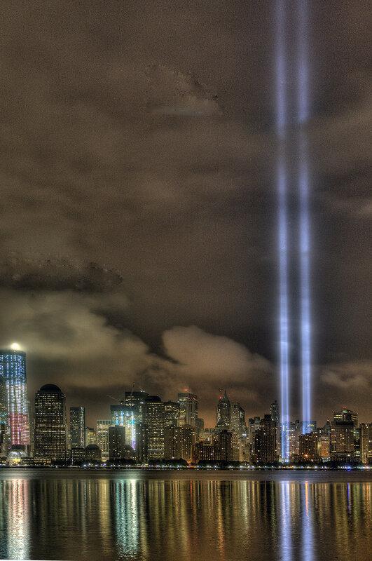 The Tribute in Light on September 11, 2011